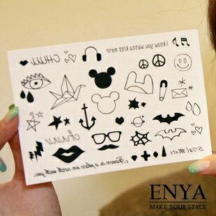 歐美流行 黑白米奇 防水紋身刺青紋身貼紙 Enya恩雅【TASS5】