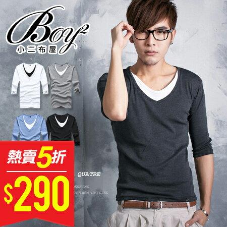 ☆BOY-2☆【PPK82005】V領2層質感素面假內裡時尚7分T 4色 現+預 0