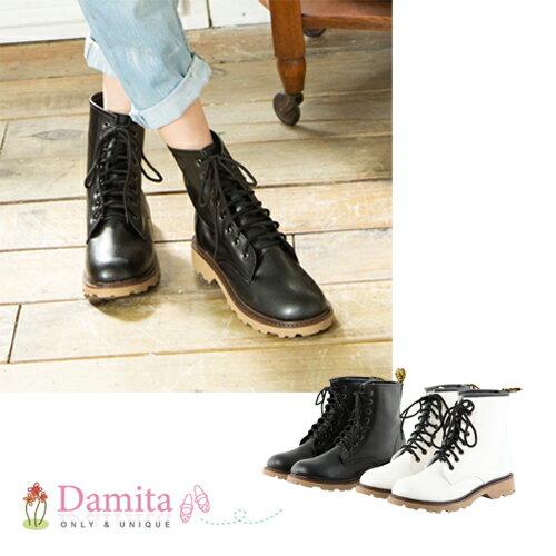 Damita  個性綁帶低跟馬丁靴  ( 黑 / 白  2色 )