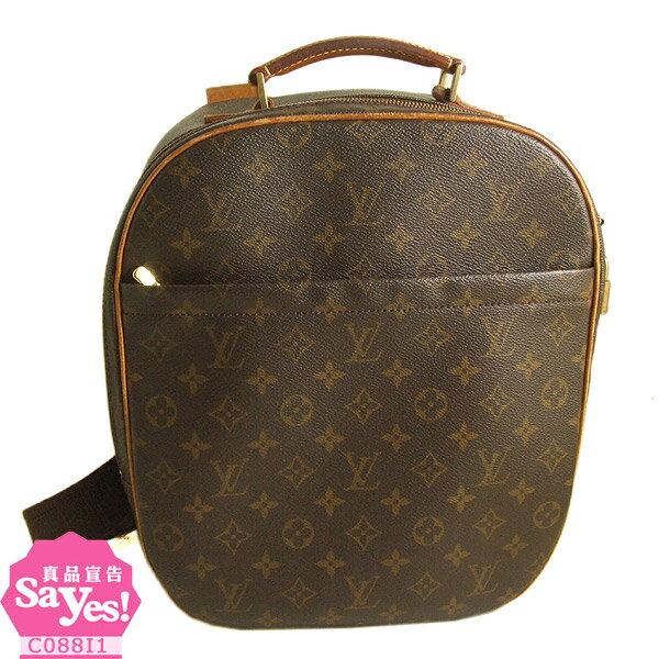 【奢華時尚】LV M51132 經典字紋帆布後斜背行李書包(八成新) #18918