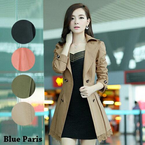 洋裝外套 - 修身雙排扣翻領蕾絲風衣外套【29029】藍色巴黎《4色》現貨+預購 0