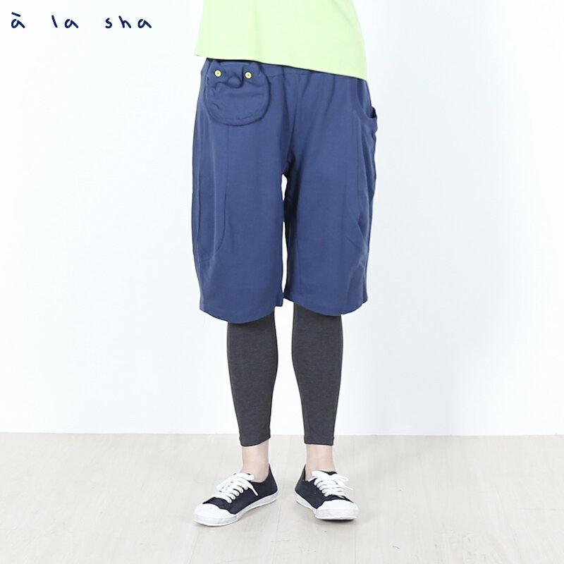a la sha Qummi 假兩件式動物口袋剪接褲 2