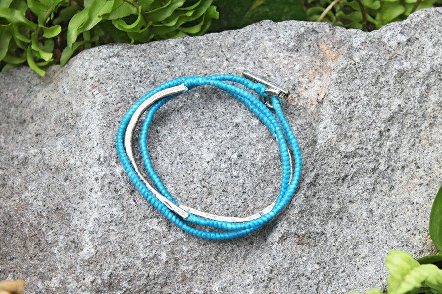 【現貨商品】【M.Cohen】3圈式蠟繩銀牌手環-藍 (MC-B-102300-SLV 07762800B5) 1