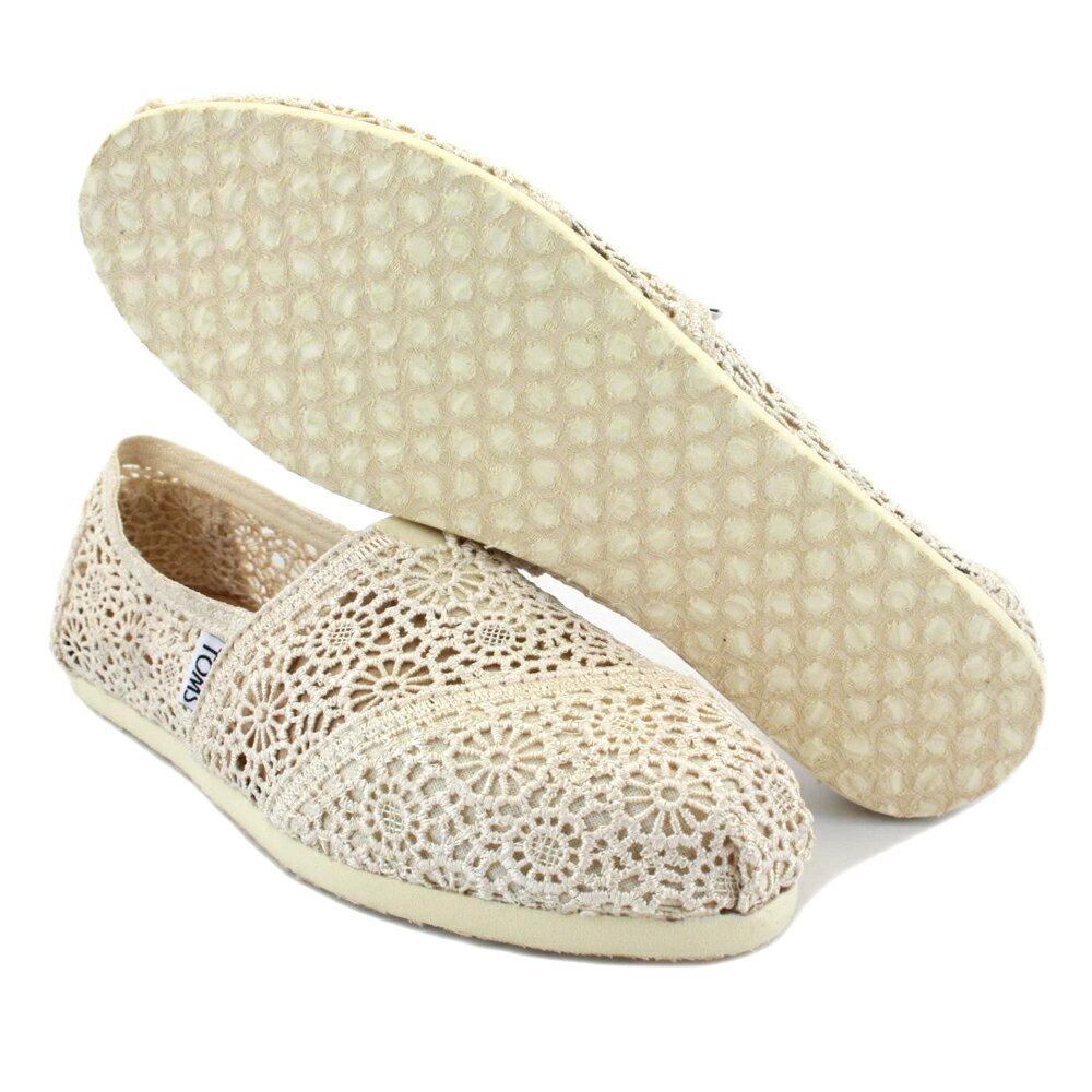 【TOMS】米白色蕾絲鏤空繡花平底休閒鞋  Natural Crochet Women's Classics 5