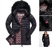 Superdry極度乾燥商品推薦女款 極度乾燥 Superdry happy fuji denim jacket 黑灰 碎花 寒流必備 防風 保暖