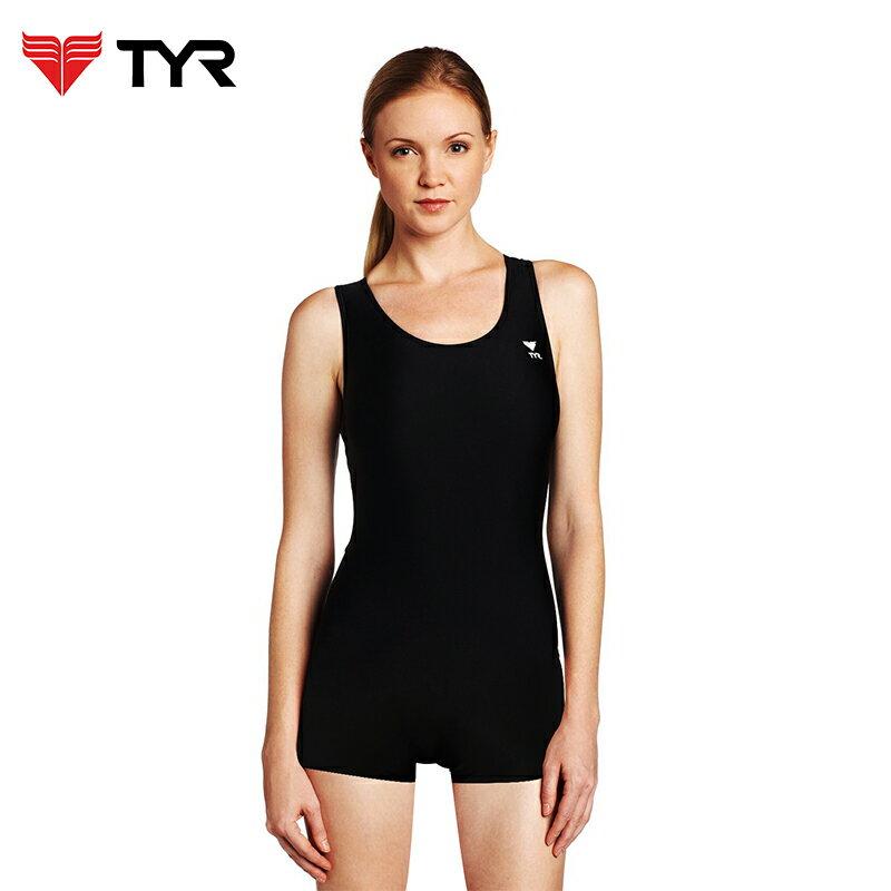 美國TYR女用連身四角黑色訓練款泳裝Solid Boyleg 台灣總代理 - 限時優惠好康折扣