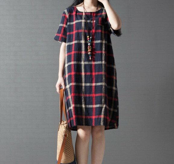 [ 英格蘭 ] 森女舒適復古格子棉麻寬鬆氣質洋裝[ 3色,M~3XL ]  - 御聖願