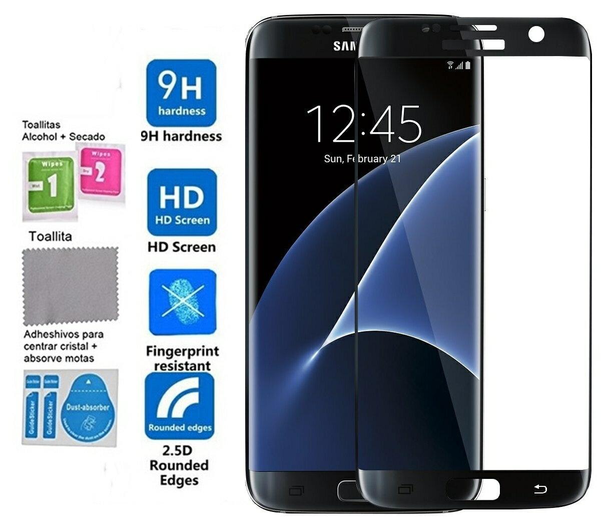 Protector Pantalla Cristal Vidrio Templado negro Samsung Galaxy S7 Edge 0