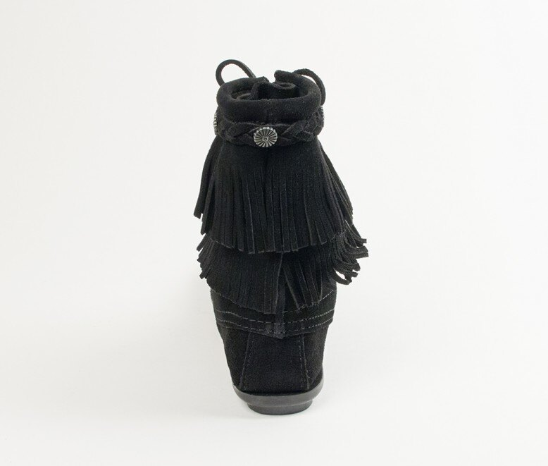【Minnetonka 莫卡辛】黑色-純手工雙層流蘇短靴 4