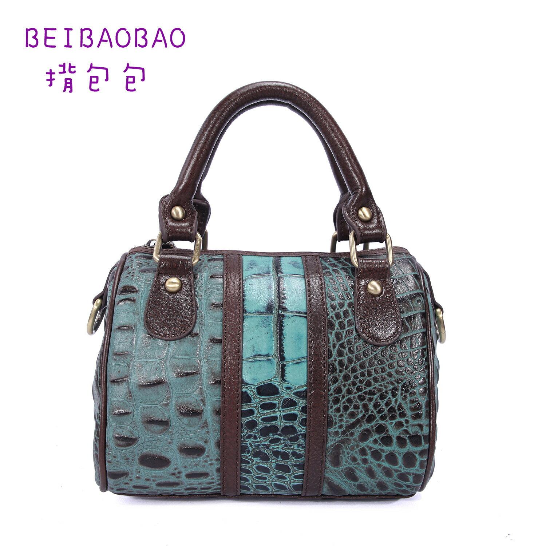 【BEIBAOBAO】米蘭風尚真皮壓紋波士頓包 (藍藍色 共三色) 0