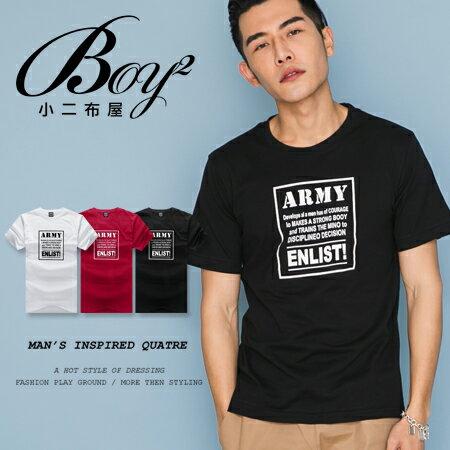☆BOY-2☆【LL1001-1】型男休閒文字ARMY素面短袖T恤 0