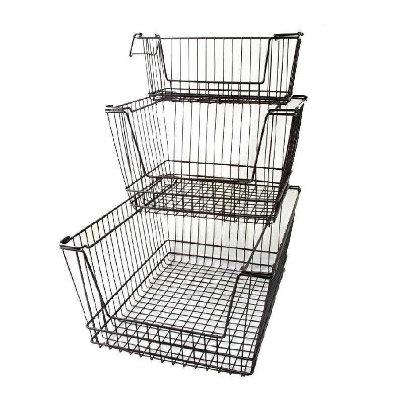 【凱樂絲】媽咪好幫手堆疊收納籃  一組三入促銷價899 - 自由DIY 空間利用 透氣通風, 客廳, 廚房, 衣櫃適用 0