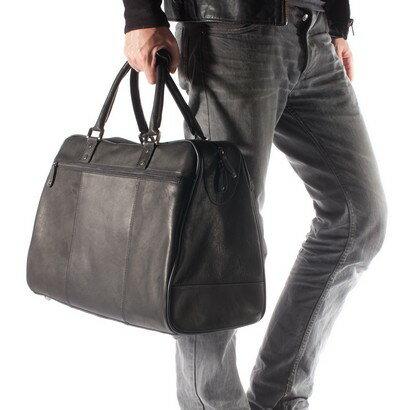 Tassia Overnighter Leather Holdall Travel Bag (black) 0