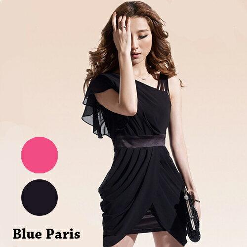 短洋裝-斜肩捲摺裙擺荷葉袖雪紡洋裝【29055】藍色巴黎《2色》現貨+預購 0