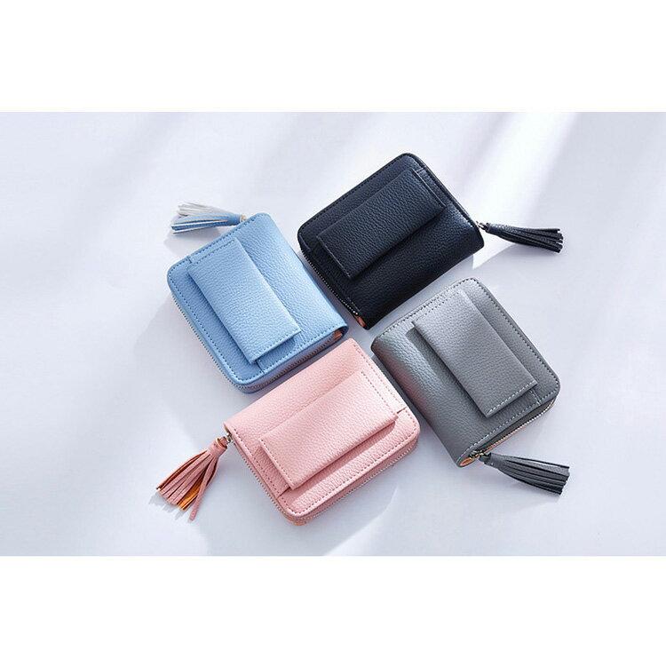 短夾 簡約流蘇拉鏈夾卡包錢包短夾【WNC5716-4】 BOBI  12/01 2