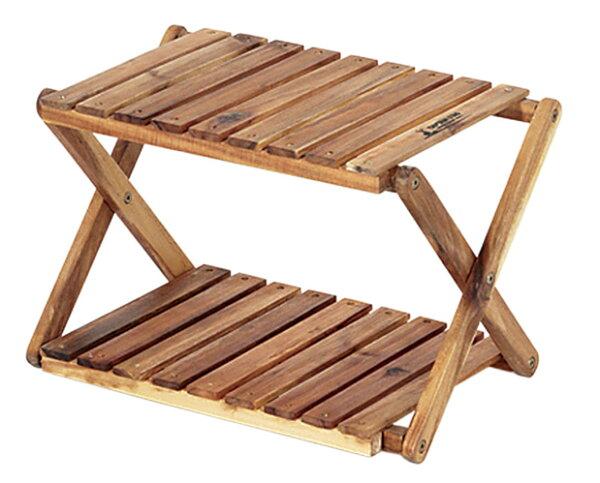 【鄉野情戶外用品店】 CAPTAIN STAG 鹿牌 |日本|  木製雙層收納架/露營置物架 層架/UP-2503