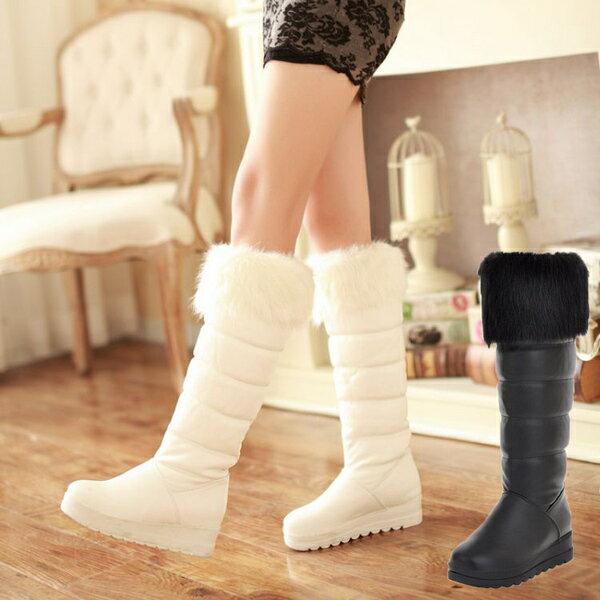 加厚平底及膝厚底高筒靴中長靴冬靴雪地靴女靴子~黑 白34~42~no~4210107398