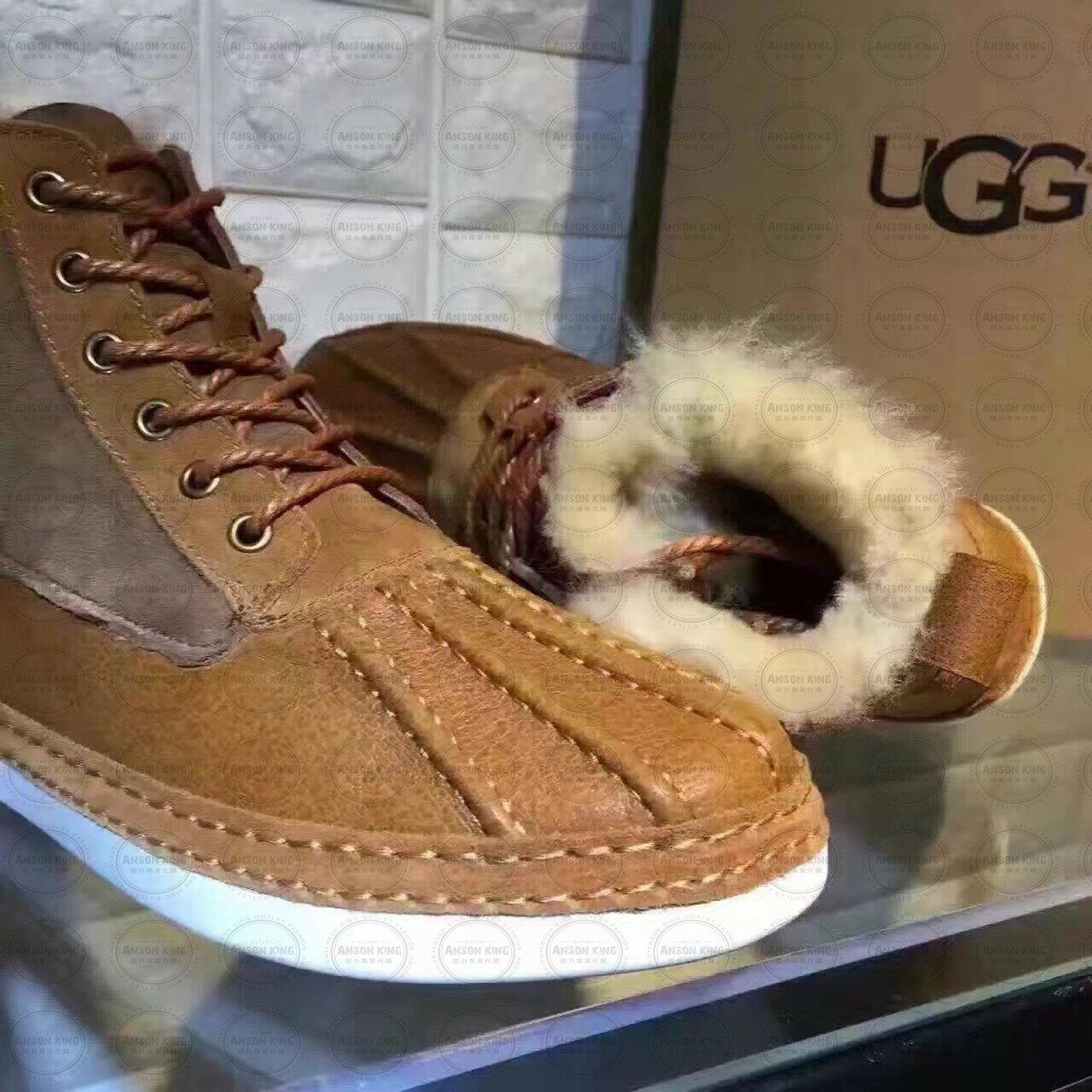 OUTLET正品代購 澳洲 UGG 冬季男款貝殼頭馬丁靴 短靴 保暖 真皮羊皮毛 雪靴 短靴 栗色 1