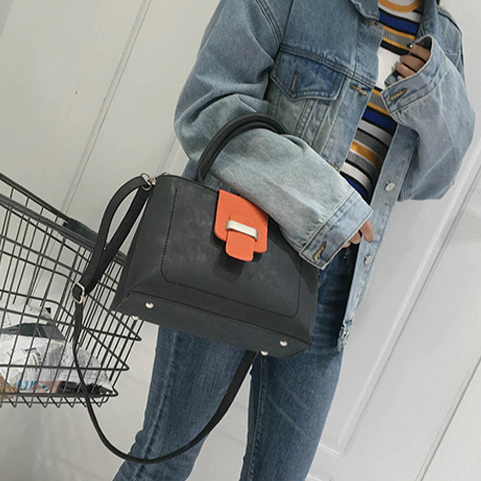 手提包 韓版大容量磨砂皮撞色手提側背包【O3208】☆雙兒網☆ 1