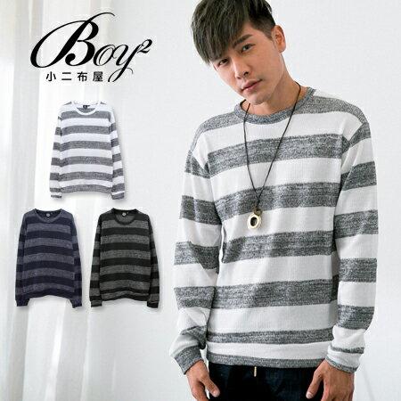 ☆BOY-2☆ 【KK6291】休閒橫條紋針織長袖T恤 0