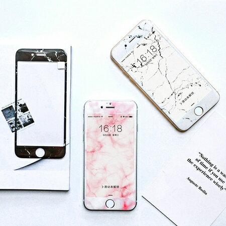 iPhone 7 7 Plus 大理石紋珠光鋼化玻璃保護貼 3D弧面 超薄軟邊 亮面 滿版
