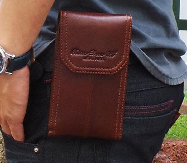 真皮手機腰包~休閒復古瘋馬皮 直入手機套 手機袋 iphone 手機包 掛包 真皮包 皮套