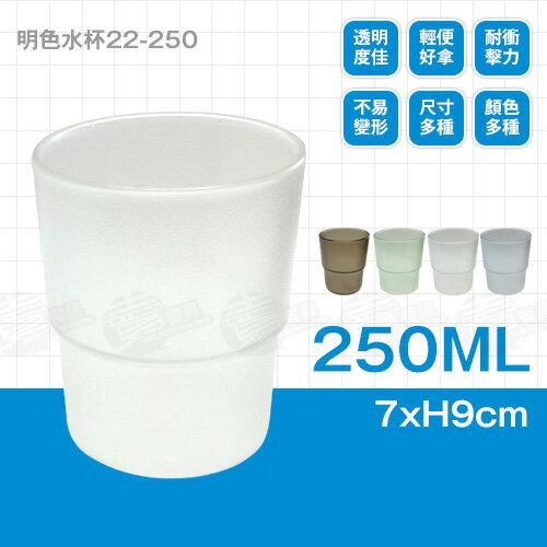 ﹝賣餐具﹞250cc 明色水杯 塑膠杯 漱口杯 22-250   /2301800102108