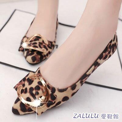 ☼zalulu愛鞋館☼ GE127 款優雅大C裝飾絨面平底尖頭娃娃鞋~黑 灰 豹紋~偏小~
