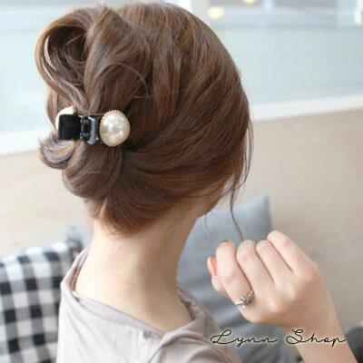 【AA-6042】韓系飾品 單顆珍珠香蕉抓髮夾 馬尾夾