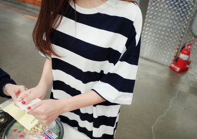 韓版長版T恤睡衣洋裝 艾爾莎 舒適寬鬆圓領短袖條紋T恤裙連身裙【TQT0035】 2