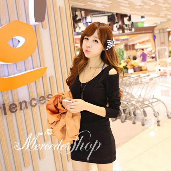 韓國露肩挖空性感修身顯瘦洋裝 - 梅西蒂絲