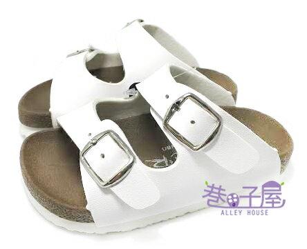 【巷子屋】ROOSTER公雞 童款經典勃肯二槓/條拖鞋 [2336] 白 MIT台灣製造 超值價$198
