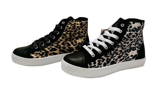 Arriba AB-7057 高筒帆布鞋 休閒鞋 豹紋 黑 / 咖  女款