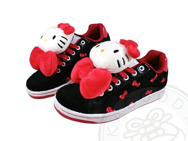HELLO KITTY 凱蒂貓 910758 立體造型絨毛玩偶 蝴蝶結 休閒鞋 板鞋 黑紅&桃色款