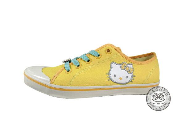 HELLO KITTY 凱蒂貓 910823 冰沙色 帆布鞋 黃色款