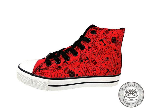 HELLO KITTY 凱蒂貓 913002 塗鴉主題風 高筒帆布鞋 紅色款