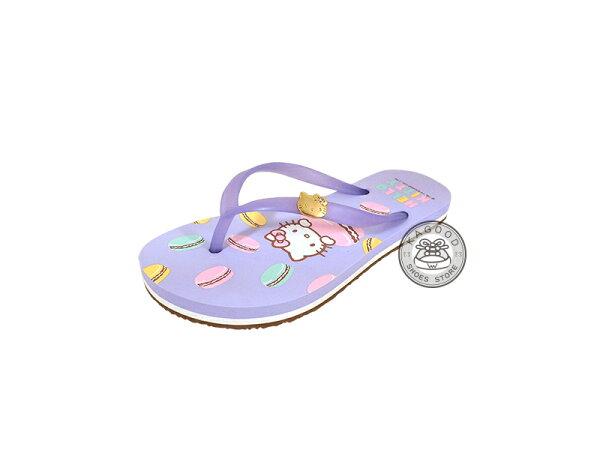 HELLO KITTY 凱蒂貓 914010 馬卡龍 人字拖 夾腳拖 海灘拖 拖鞋紫色款