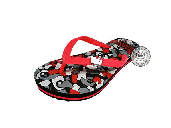 HELLO KITTY 凱蒂貓 914019 迷彩風 海灘拖 人字拖 夾腳拖 拖鞋 黑色款