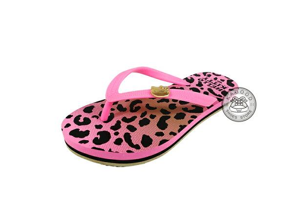 HELLO KITTY 凱蒂貓 914020 豹紋 海灘拖 人字拖 夾腳拖 拖鞋 桃色款