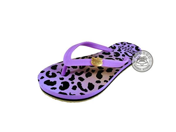 HELLO KITTY 凱蒂貓 914020 豹紋 海灘拖 人字拖 夾腳拖 拖鞋 紫色款