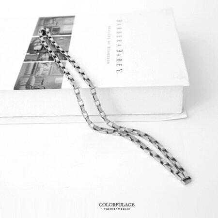 項鍊 鏤空長方格粗曠個性鍊子長項鍊 精緻全銀白鋼 超質感選擇 柒彩年代【NB676】帥氣有型 0