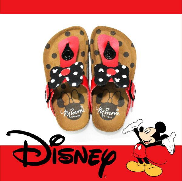 萬特戶外運動休閒 - 正版迪士尼勃肯兒童拖鞋 米妮蝴蝶結夾腳拖鞋 米奇米妮 親子款 (紅色)