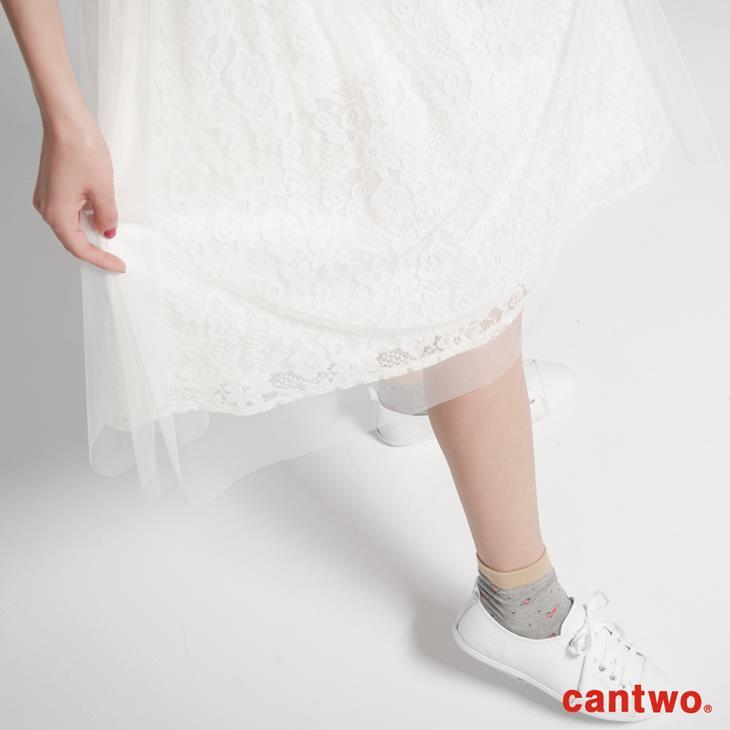 cantwo蕾絲花朵網紗及膝裙(共二色) 4
