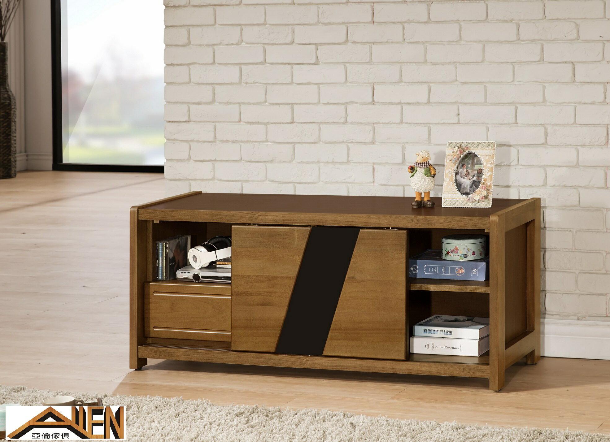 亞倫傢俱*文森卡索南洋檜實木4尺電視櫃 - 限時優惠好康折扣