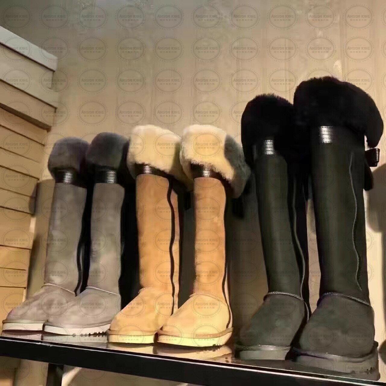 OUTLET正品代購 澳洲 UGG 千頌伊同款過膝羊皮毛雪靴 保暖 真皮羊皮毛 雪靴 短靴 黑色 2