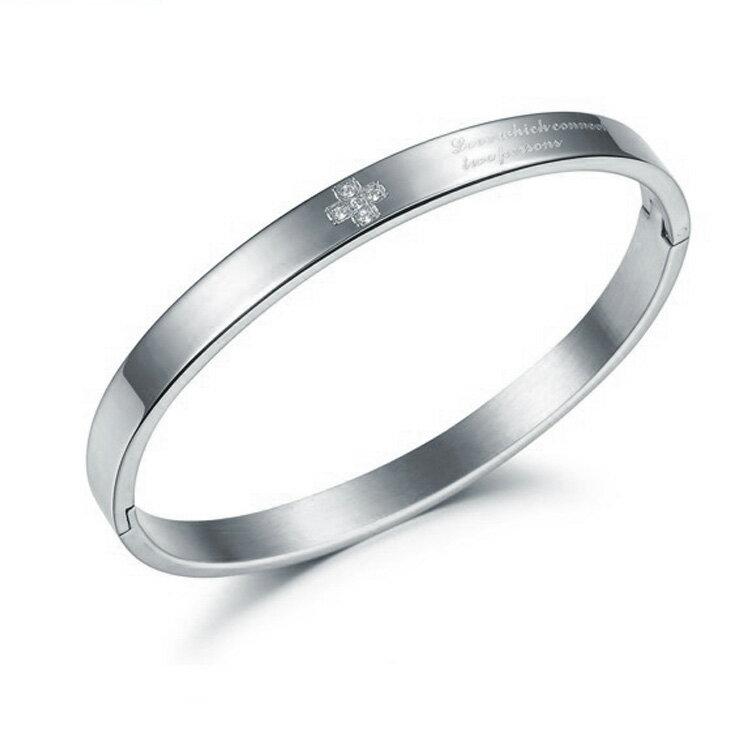 款 精美簡約 鑲鑽女款鈦鋼手環 ~  好康折扣