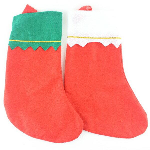 DIY聖誕襪 空白聖誕襪 帶金絲聖誕襪 (空白無圖)/一個入{促30}耶誕襪~5520