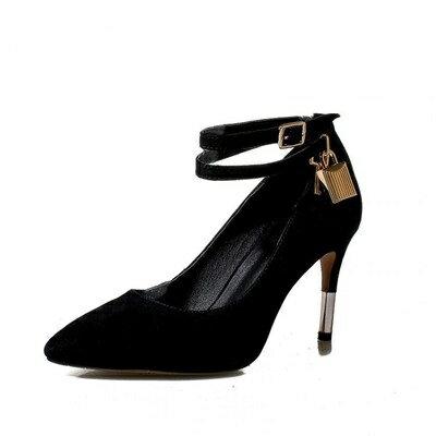 尖頭高跟鞋真皮細跟單鞋-高貴絨面多層綁帶女鞋子2色73iw29【獨家進口】【米蘭精品】
