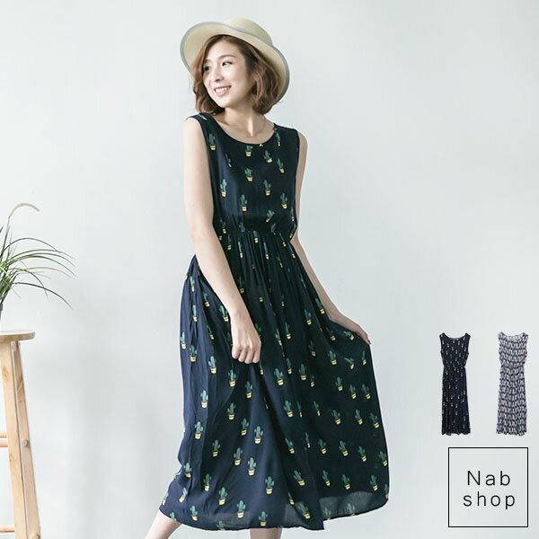 NabShop 背心圖樣雪紡長洋裝*2色 【260033】