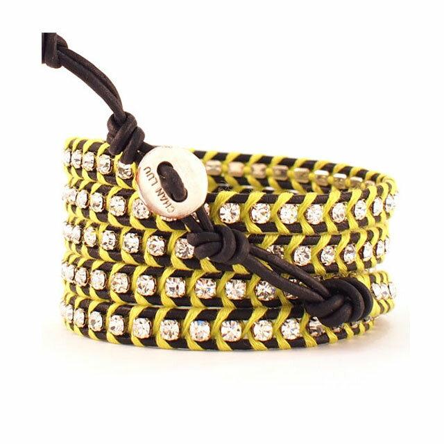 【現貨商品】【CHAN LUU】水鑽寶石黑色x螢光黃皮繩手環/5圈(CL-BSZ-3305CryCal  06246900IC) 1